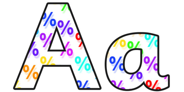 Percentages Small Lowercase Display Lettering - percentages, percentages display lettering, percentages display letters, percentages alphabet lettering