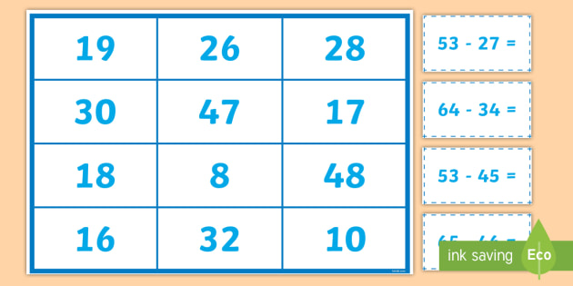 Subtraction Matching Cards - Addition and Subtraction, take, take-away, less, minus, subtract, leaves,  how many more, how many f