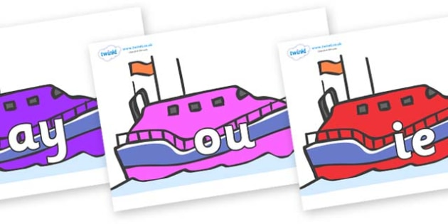 Phase 5 Phonemes on Lifeboats - Phonemes, phoneme, Phase 5, Phase five, Foundation, Literacy, Letters and Sounds, DfES, display