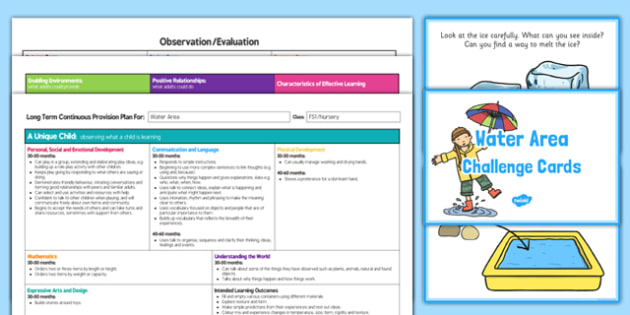 Water Area Editable Continuous Provision Plan and Challenge Cards Pack Nursery FS1
