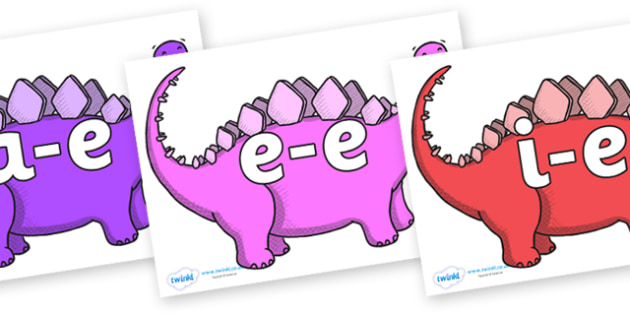 Modifying E Letters on Stegosaurus - Modifying E, letters, modify, Phase 5, Phase five, alternative spellings for phonemes, DfES letters and Sounds