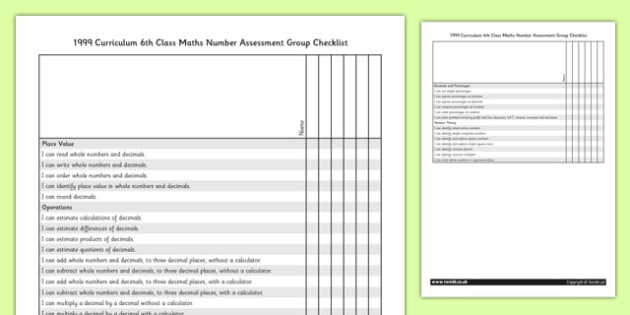 1999 Curriculum 6th Class Maths Number Assessment Group Checklist - roi, gaeilge, ireland, republic of ireland