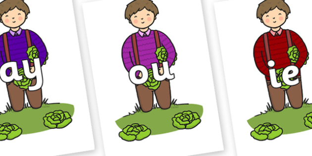 Phase 5 Phonemes on Dad Picking Lettuces - Phonemes, phoneme, Phase 5, Phase five, Foundation, Literacy, Letters and Sounds, DfES, display