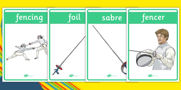 The Olympics Fencing Display Posters - Fencing, Olympics, Olympic Games, sports, Olympic, London, 2012, display, banner, poster, sign, activity, Olympic torch, events, flag, countries, medal, Olympic Rings, mascots, flame, compete