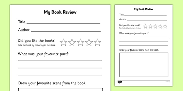 Book Review Writing Frame  Book Review Book Review Template