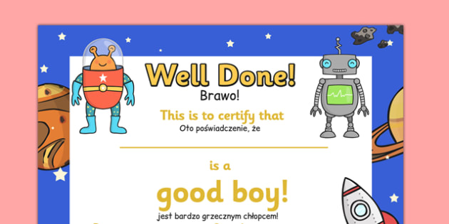 Good Boy Award Certificates Polish Translation - polish, good boy award certificates, good boy, good, boy, behaviour, certificates, award, well done, reward, medal, rewards, school, general, certificate, achievement