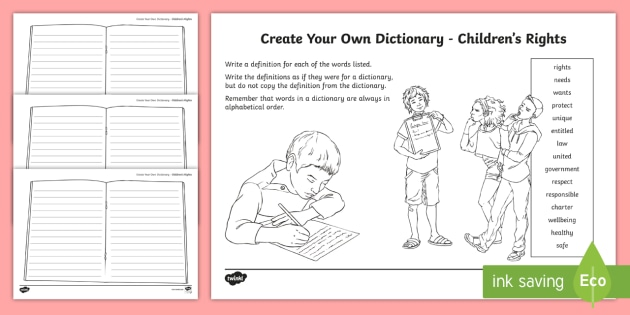 The Rights of the Child Key Vocabulary Create Your Own Dictionary - Vocabulary Development, reading for information, definitions, creating texts, alphabetical order,Sco