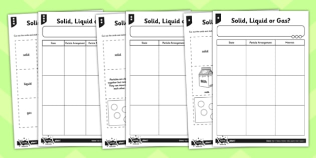 Solid Liquid or Gas Worksheet - solids liquids and gases, solids liquids and gases sorting activity, solid liquid or gas cut and stick activity, ks2