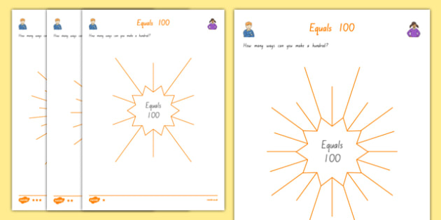Equals 100 Mind Map Activity Sheet, worksheet