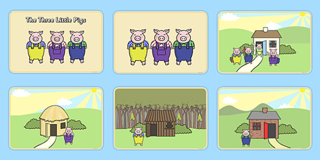 The Three Little Pigs Story Sequencing - Three little pigs, sequencing, traditional tales, tale, fairy tale, pigs, wolf, straw house, wood house, brick house, huff and puff, chinny chin chin