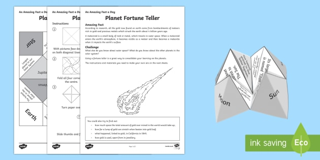 Planet Fortune Teller Activity Sheet - Amazing Fact Of The Day, activity sheets, powerpoint, starter, morning activity, December, planets,