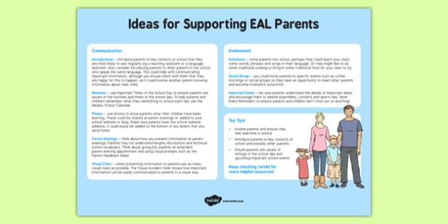 Ideas for Supporting EAL Parents - ideas, supporting, eal, parents
