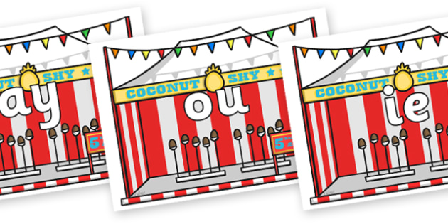 Phase 5 Phonemes on Fairground Coconut Stands - Phonemes, phoneme, Phase 5, Phase five, Foundation, Literacy, Letters and Sounds, DfES, display