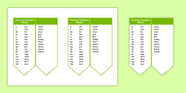 Editable Common Exception Words Year 1 Bookmark - editable, common exception words, year 1, bookmark