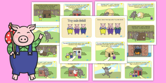 The Three Little Pigs Story 4 per A4 Text Polish Translation