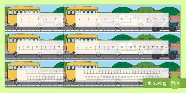 Recta numérica: Transporte  - Transporte, proyecto, coche, avión, tren, bici, bicicleta, helicóptero, camión, coete, furgoneta,