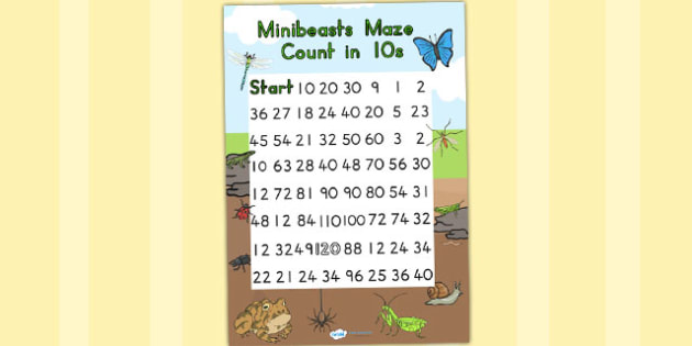 Minibeasts Counting in 10s Maze Worksheet - counting aid, count