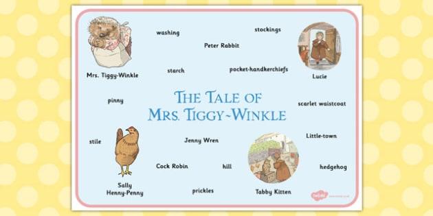 The Tale of Mrs Tiggy Winkle Word Mat - mrs tiggy winkle, word mat