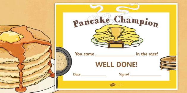Pancake Race Certificate - awards, certificates, pancakes, races