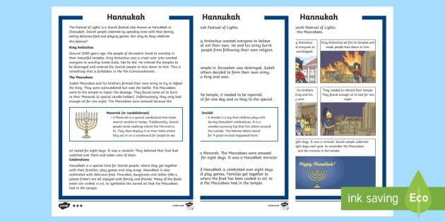 KS1 Hanukkah Differentiated Fact File - Hanukkah, 24th Dec, Judaism, festival of light, menorah, light, temple, Judah Maccabee, Maccabees, o