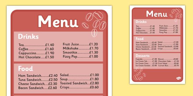 Cafe Menus (Full) - Cafe, Shop, menu, role play, order, waitress, customer, waiter, menu, coffee, tea, waitress, till, cakes, cake, milk, sugar, table, chairs