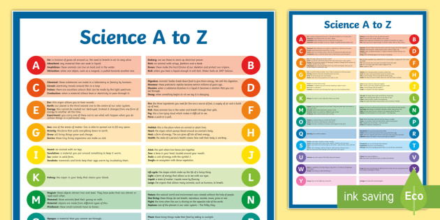 a to z of Science Display Poster - science, terms, dictionary, a to z, display poster, alphabetical