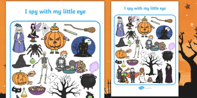 Halloween Themed I Spy With My Little Eye Activity Sheet - i spy with my little eye, i spy, activity, halloween, worksheet