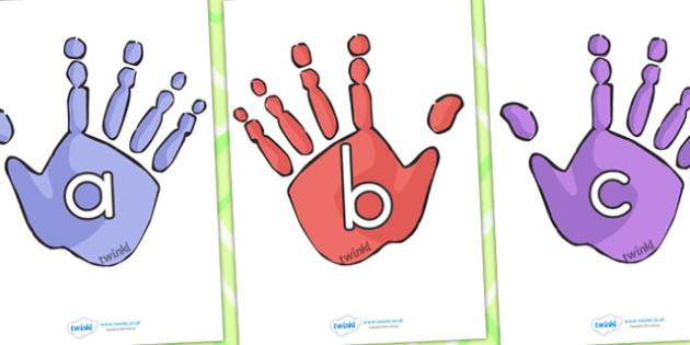 A Z on Handprints - a-z, alphabet, handprints, ourselves, display
