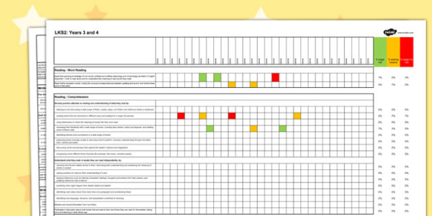 2014 Curriculum LKS2 Years 3 and 4 English Spreadsheet - literacy