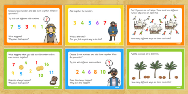 Pirate Themed KS1 Maths Challenge Cards - challenges, numeracy