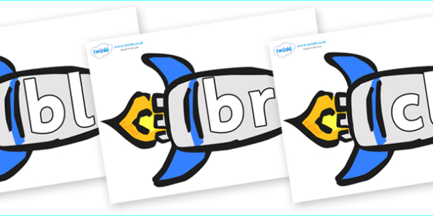 Initial Letter Blends on Rockets (Plain) - Initial Letters, initial letter, letter blend, letter blends, consonant, consonants, digraph, trigraph, literacy, alphabet, letters, foundation stage literacy