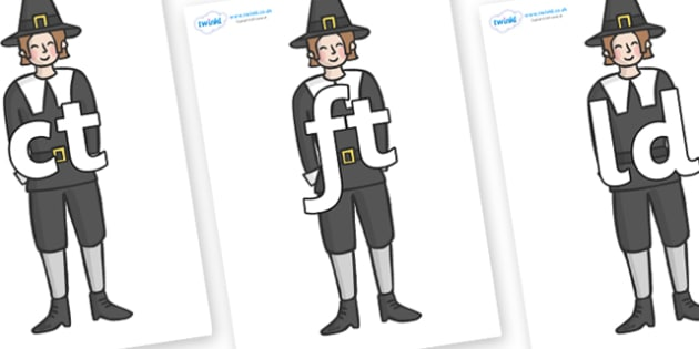 Final Letter Blends on Pilgrims - Final Letters, final letter, letter blend, letter blends, consonant, consonants, digraph, trigraph, literacy, alphabet, letters, foundation stage literacy