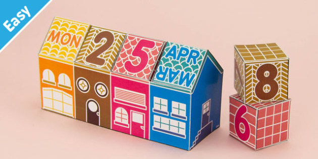 Enkl DIY Calendar Block House Printable - Enkl, arts, crafts, activity, adult, home, decor, designer, designer, decoration, interior, project, printable, cute, simple, paper, models, 3D, shape, colour, geek, clean,life,hack,organize,organizer,quick