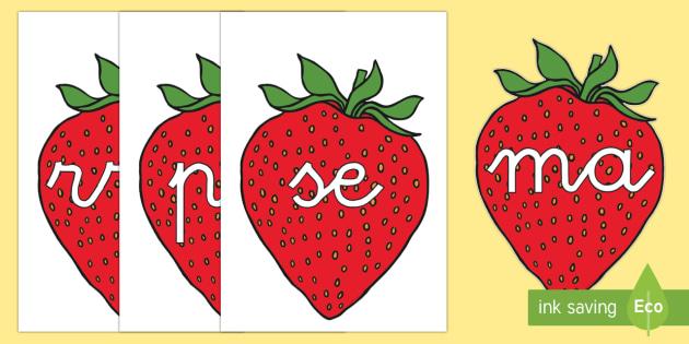 Tarjetas de sílabas: Fresas - lecto, leer, primeros sonidos, comida, Spanish