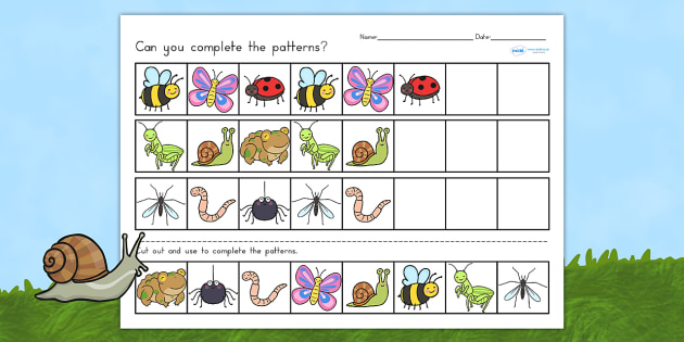 Minibeasts Cute Complete the Pattern Worksheets - minibeast
