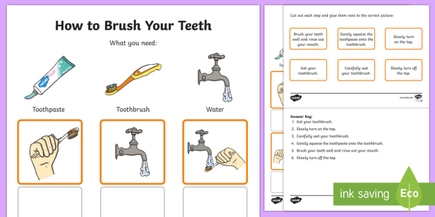 Australia Kindergarten How to Brush Your Teeth Procedure Word and Picture Matching Activity Sheet - Literacy, kindergarten, literacy, procedure, informative text, text types, writing, information, aus