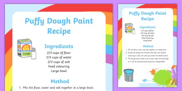 Dough Puffy Paint Recipe - dough, puffy, edible, paint, recipe