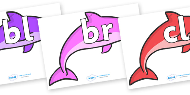 Initial Letter Blends on Dolphins (Multicolour) - Initial Letters, initial letter, letter blend, letter blends, consonant, consonants, digraph, trigraph, literacy, alphabet, letters, foundation stage literacy