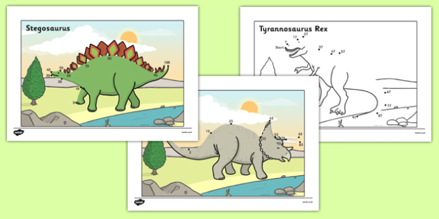 Counting in 10s to 100 Dot to Dot Dinosaurs - counting in 10s, 100, dot to dot, dinosaurs
