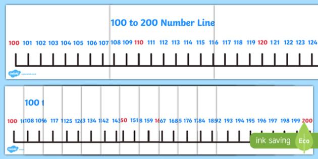 Giant 100-200 Number Line 10s - giant, 100-200, number line, numberline, 100, 200, 10s