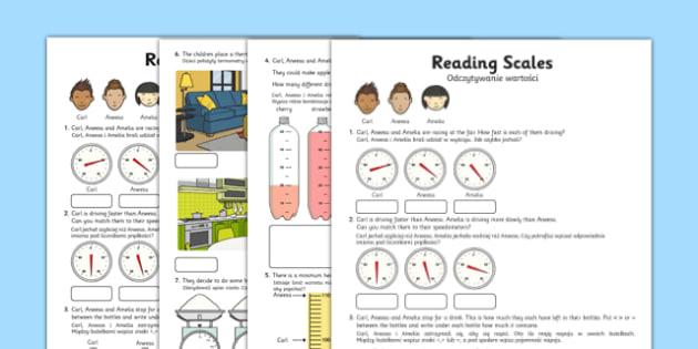 Reading Scales Activity Sheet Polish Translation - polish, reading, scales, activity, sheet, read, maths, worksheet