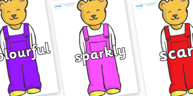 Wow Words on Bears to Support Teaching on Whatever Next! - Wow words, adjectives, VCOP, describing, Wow, display, poster, wow display, tasty, scary, ugly, beautiful, colourful sharp, bouncy