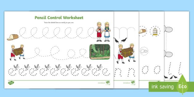 Pencil Control Sheets - pencil control, hansel, gretel, control