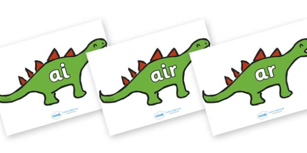 Phase 3 Phonemes on Dinosaurs - Phonemes, phoneme, Phase 3, Phase three, Foundation, Literacy, Letters and Sounds, DfES, display