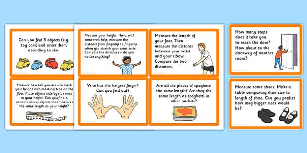 Measuring Length Challenge Cards - measuring, length, challenge