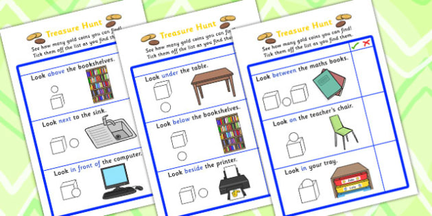 Preposition Treasure Hunt - positions, SEN, SEN games, treasure, prepositions