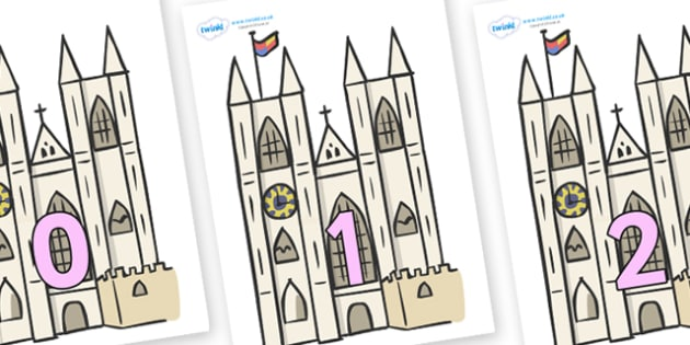 Numbers 0-50 on Churches - 0-50, foundation stage numeracy, Number recognition, Number flashcards, counting, number frieze, Display numbers, number posters