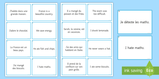 French Articles Matching Cards - French, translation, grammar, articles, definite, indefinite, partitive,French
