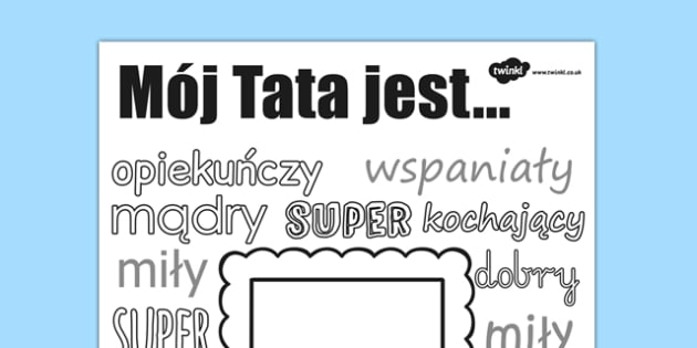Arkusz Rysowanie i kolorowanie Dzień Ojca po polsku