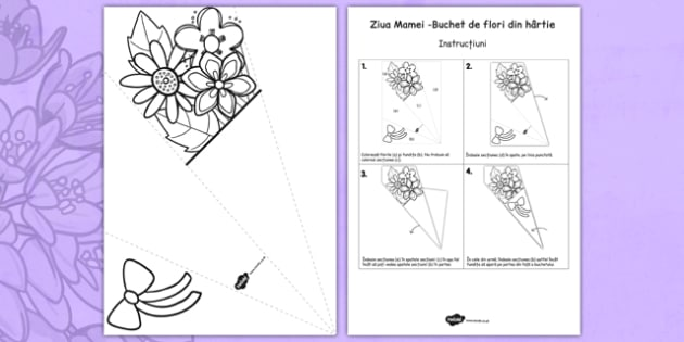 Ziua Mamei, Buchet de flori din hartie - 8 martie, mama, desen